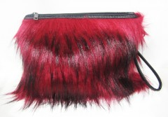 Red and Black Colored Fur Clutch