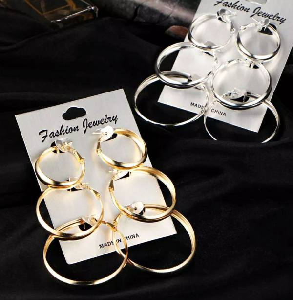 Womens Silver and Gold Hoops Ear Rings