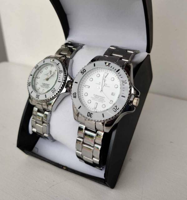 Silver Rolex Couple Watch