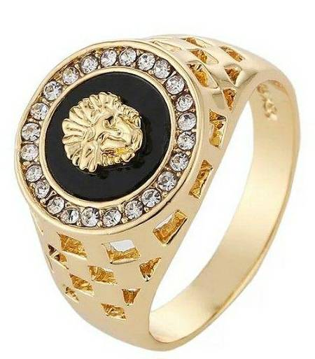 Men Golden with Black color Avatar Ring